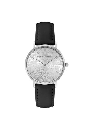 BCBG black BCBGMAXAZRIA BG50696008 Silver and Black Leather Watch D29CEAC6A45F4CGS_1