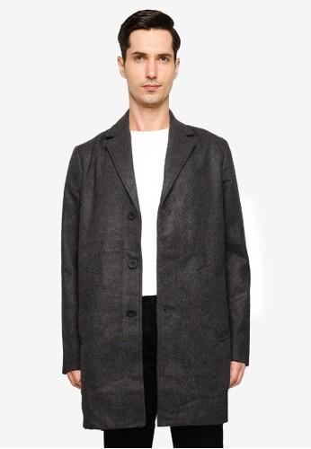 !Solid grey Fayette Faux Wool Coat E3B98AA3A48E47GS_1