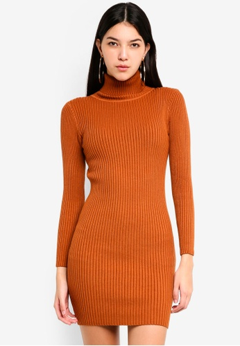 Tokichoi brown Knitted Turtleneck Bodycon Dress 2F00FAAB3AEC8EGS_1