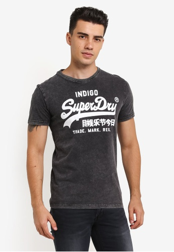 Superdry black and blue Vintage Logo Indigo Tee SU137AA0RIPNMY_1