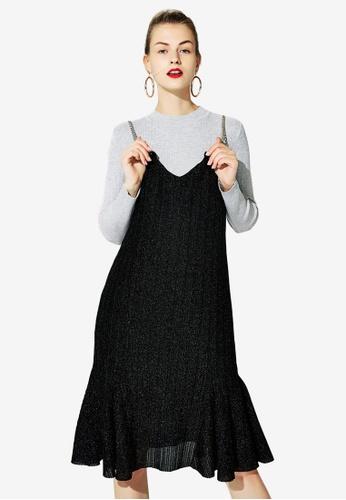 Hopeshow black Chain Strap Slip Dress 971AAAABE3F701GS_1