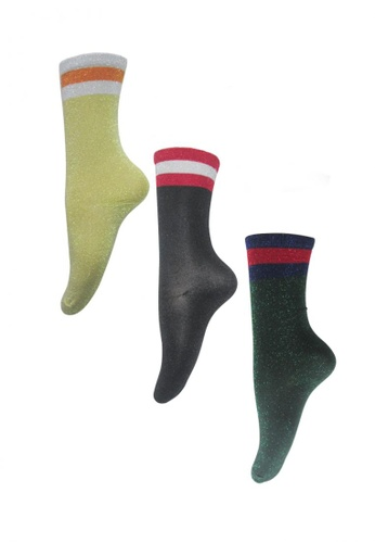 Chase Fashion multi Glitter Crew Socks 3 Stripe 236C3AAB3E355BGS_1