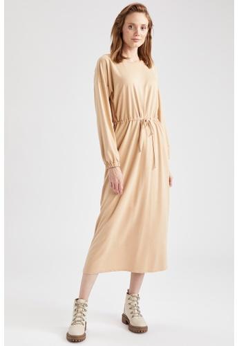 DeFacto beige Long Sleeve Midi Dress 0A52CAA87DE45EGS_1