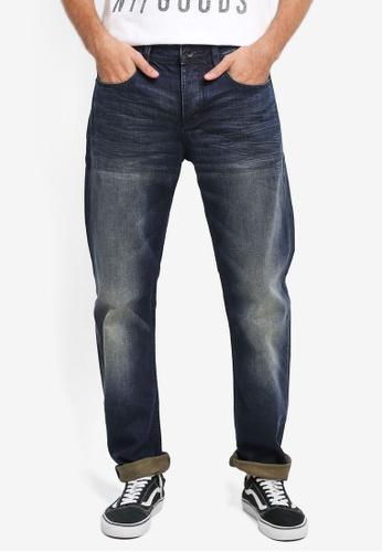 Superdry 藍色 休閒直筒牛仔褲 SU137AA0T22HMY_1