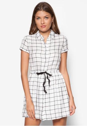 Petite 格紋繫帶連身zalora 衣服尺寸裙, 服飾, 洋裝