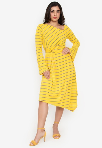 Wear Kris yellow Kingmaker Stripe Long Sleeve Dress With Asymmetric Hem D1A02AAD978090GS_1