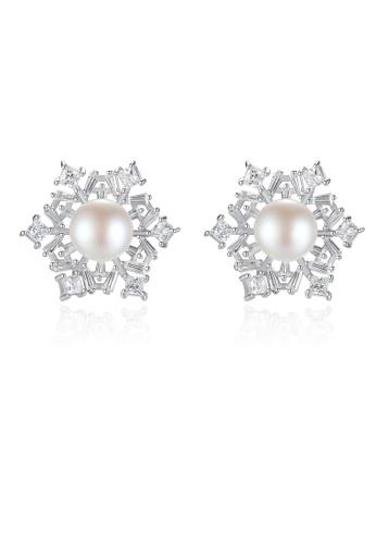 SUNRAIS silver Premium colored stone silver snowflake earrings DBFB4AC95FCC7CGS_1