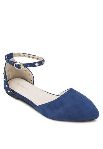 鉚釘踝帶尖頭平底鞋, 女鞋,esprit outlet hk 鞋