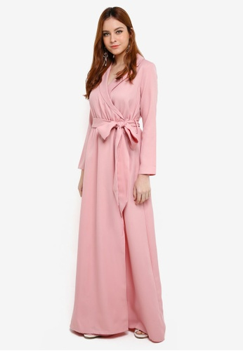 Lubna pink Belt Fitted Robe Dress 21110AA82F484FGS_1