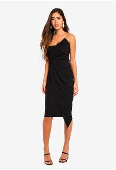 2c0cdbbccb MISSGUIDED black Bandeau Origami Midi Dress 4E1D8AA704CA8FGS 1