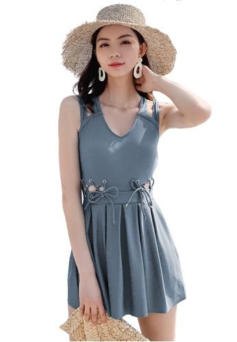 A-IN GIRLS 藍色 性感綁帶連體泳衣 E5ABBUSBB86662GS_1