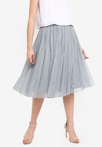 Lace & Beads grey Pleated Short Skirt With Satin Elastic Belt 9B362AA8F67F32GS_1
