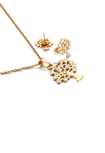 Glamorousky white Fashion and Simple Plated Gold Tree Of Life 316L Stainless Steel Necklace and Stud Earrings Set with Cubic Zirconia 13D85AC1EF1300GS_1