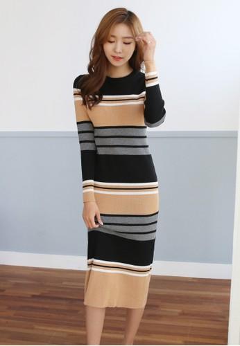間zalora 台灣門市條針織長版連身裙, 服飾, 洋裝