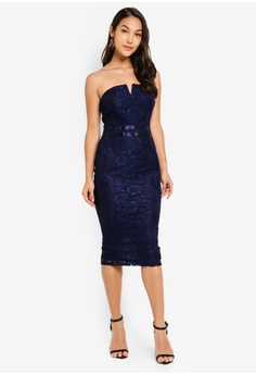 3665b6def9ac AX Paris navy Lace Notch Front Midi Dress 04D88AADF8673FGS_1