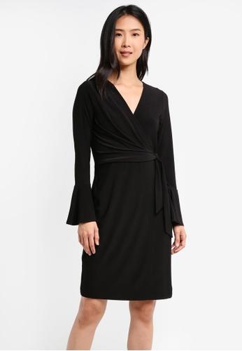 Wallis black Black Flute Sleeve Jersey Wrap Dress WA800AA0T08GMY_1
