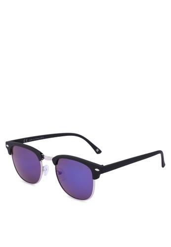 River Island black Half Frame Retro Blue Sunglasses 07E8BGLEA908D4GS_1