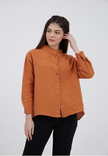 Berrybenka Label red Sophie Hasya Plain Shirt Terracotta 134F6AAA7F1DE0GS_1