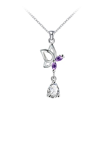Glamorousky white Fashion Butterfly Pendant with Purple Cubic Zircon and Necklace 3F671ACBF84836GS_1