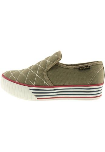 Maxstar 綠色 新款韩国鞋C30-Stitch時尚帆布布混合女綠色 US Women Size MA345SH98HEVTW_1