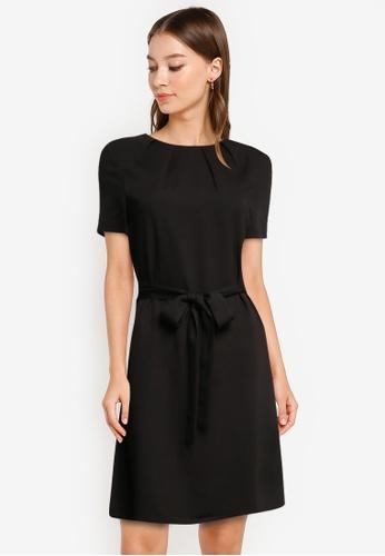 ZALORA WORK black Pleated Neck Dress with Self Tie 56C25AA1829FAAGS_1