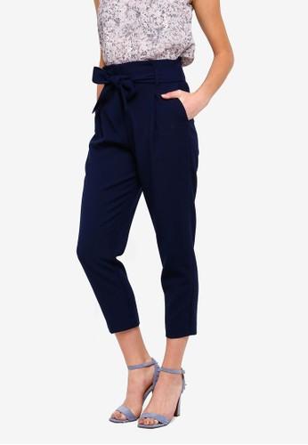 FORCAST navy Karen Tie Waist Trousers B6F51AA4DB272CGS_1