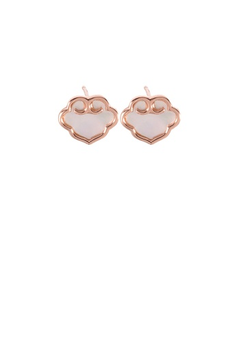 Glamorousky silver 925 Sterling Silver Plated Rose Gold Simple Vintage Ruyi Lock Shell Stud Earrings 52697ACEBBF1F1GS_1