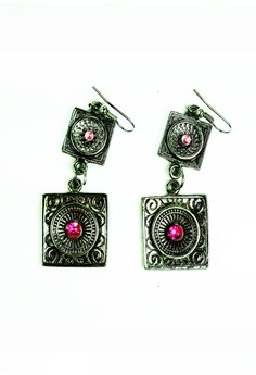 Clique Antique Style Ruby Stud Dangling Earrings
