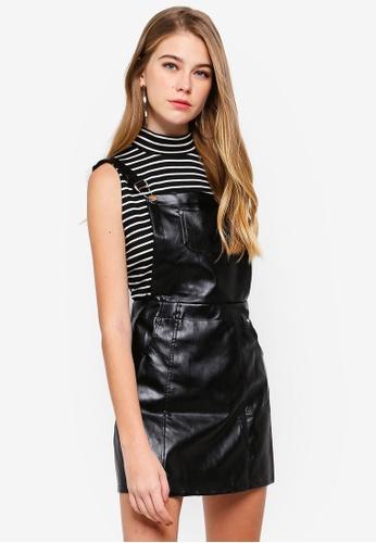 MISSGUIDED black Pu Pinafore Dress ED9DDAA764B360GS_1