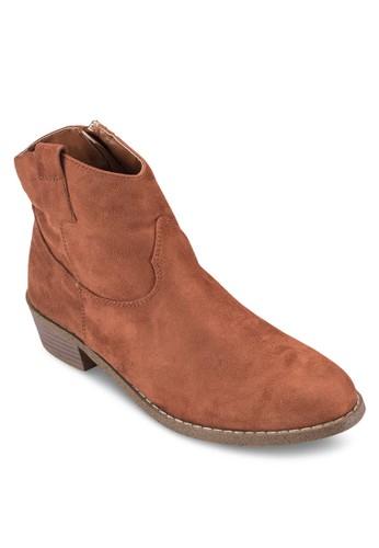 木製粗跟布料踝靴, 女鞋, zalora taiwan 時尚購物網靴子