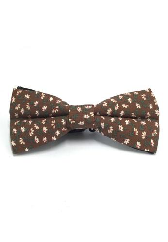 Splice Cufflinks Blooming Series Brown Floral Design Cotton Pre-tied Bow Tie SP744AC16QPBSG_1