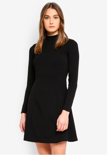 Dorothy Perkins 黑色 Black High Neck Fit And Flare Dress 5A23CAA635FDECGS_1