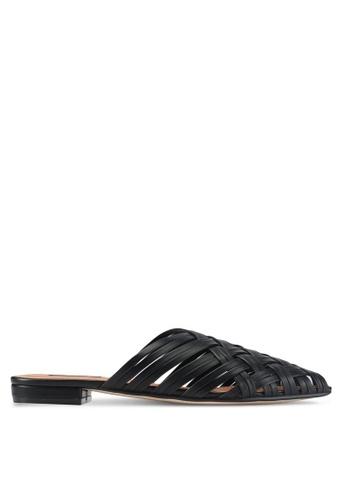 ZALORA black Faux Leather Woven Slip On Flats 2AAEESHEDF4F6DGS_1
