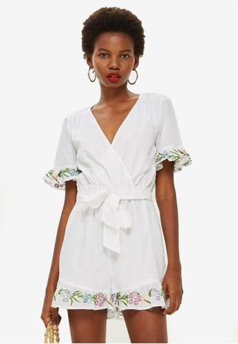 TOPSHOP white Flower Embroidered Playsuit BEE0CAA79DCEF9GS_1