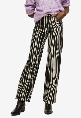 Mango black Stripes Printed Trousers 6E94EAAC7D6DC5GS_1