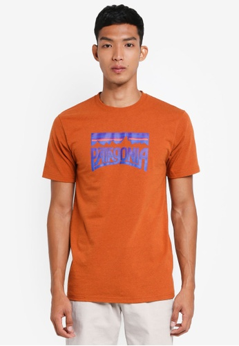 Patagonia brown and orange Fitz Roy Frostbite Responsibili-Tee PA549AA0SVMEMY_1