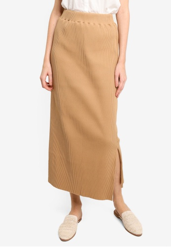 LOWRYS FARM beige Rib Skirt 49B02AA66FD0C4GS_1