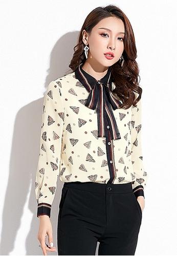 LYCKA beige LCC8029 Korean Style Autumn-Winter Lady V Neck Chiffon Long Sleeve Blouse-Beige 12F1AAA5480BD1GS_1
