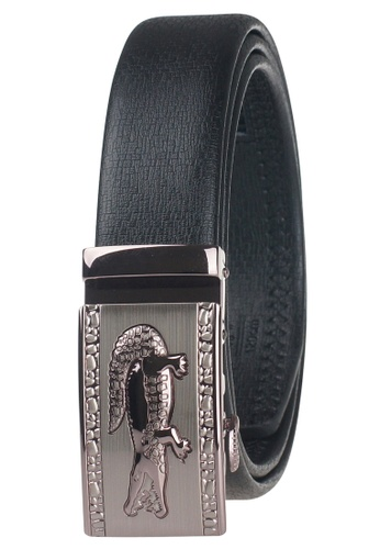 FANYU black Leather Dress Belt With Automatic Buckle C8DF9AC12CCB27GS_1