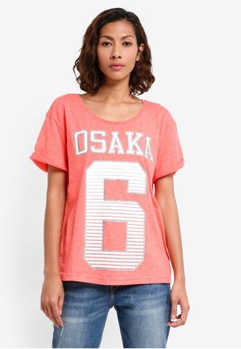 Superdry pink and orange Osaka 6 Sport Slim Boyfriend Tee 94397AA6D87445GS_1