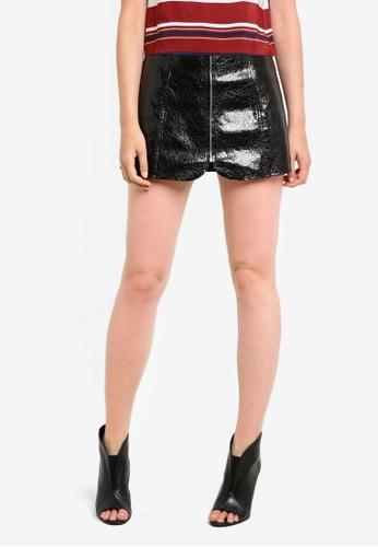 ZALORA black Zippered Patent Leather Skirt 5EC84AA94C6C1FGS_1
