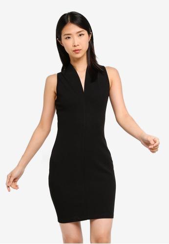 ZALORA BASICS black Basic V-Neck Bodycon Dress 529BAAA87C555AGS_1