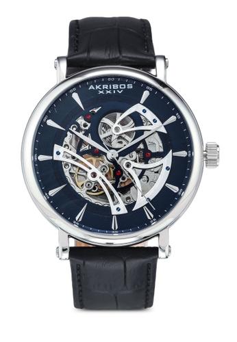 Akribos XXIV black Automatic Leather Watch 556C5AC9E59594GS_1
