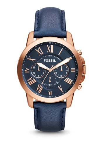 Fossil blue and navy Grant Chronograph Watch FS4835IE 44B4FAC34C329BGS_1