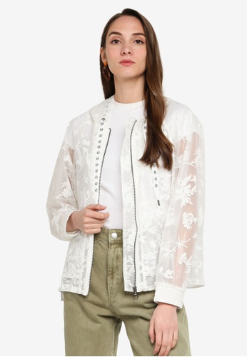 Desigual white Semi-Sheer Floral Hooded Jacket 2B5ECAA699C2F2GS_1