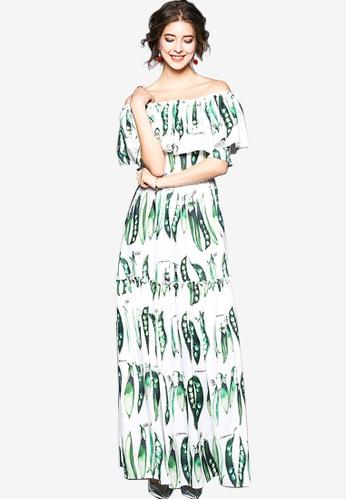 Sunnydaysweety multi Pea Pattern Off Shoulder One Piece Dress DAB37AABFA9E4AGS_1