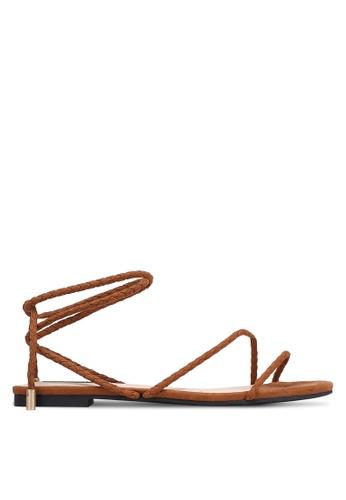 ZALORA brown Braided Tie Up Sandals 8E216SHA46D746GS_1