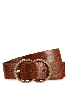 3a8c89b7691 River Island brown Tan Croc Textured Double Ring Belt E4A92AC73366DEGS 1