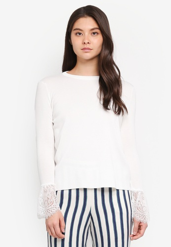 Yoco white Lace Hem Top A30D3AA56CB2CFGS_1