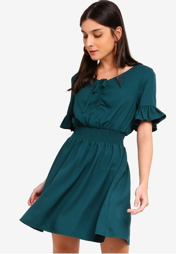 ZALORA green Ruched Details Fit And Flare Dress D5F55AA57DD1E0GS_1